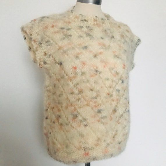 Vintage sweater,mohair knit,wool,80s top,cream sweater,short sleeves,fluffy,knitted tee,Bad Girl,S,M,80s,spotty,chevron,Molly Ringwald
