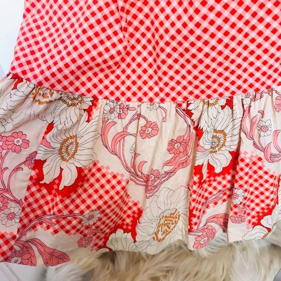 vintage dress, 70s dress, border print,gingham, hippie, midi, cover up, 1970s dress, flower power, daisy print, tie straps, sundress, 14