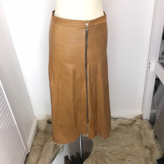 Vintage leather skirt, tan leather skirt, zip front, midi, sexy, 1980s, fetish, trashy 80s rock style UK 14 16, real leather, 33