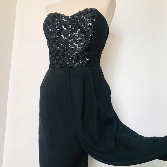 Vintage jumpsuit,jumper,bustier,1980s glam UK 14,Wallis,sequin,sparkly,evening,black jumpsuit,boned,strapless,80s,90s