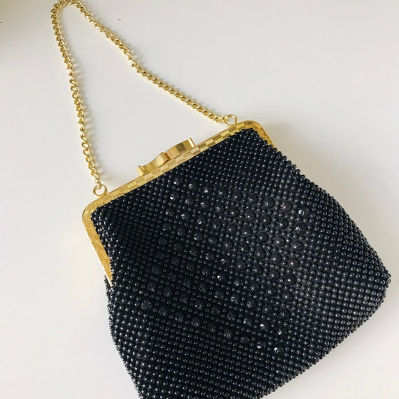 vintage beaded bag,black bead bag,evening purse,1960s 1950s gold chain frame purse,wedding bridal Bead Evening Bag goth