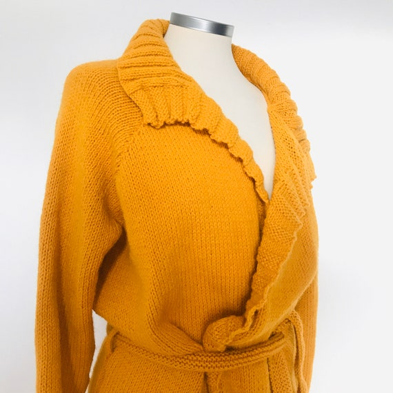 Vintage knitting, vintage handknit,cardigan, chunky, mustard, sweater, wrap cardigan, belted cardigan, wool knitted 1960s 1970s winter knit