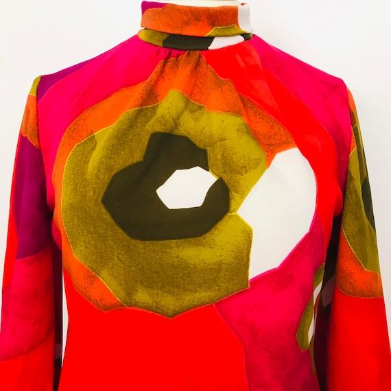 Vintage dress, 1970s dress, maxi, psychedelic eye print, orange dress, UK 14, 70s style, long dress, roll neck, long sleeves, 60s,