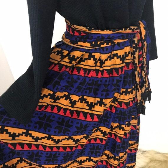 Vintage dress, winter dress, roll neck, knitted, navajo print skirt, 1970s dress, rainbow, 14, boho, 70s dress, folk art, pendleton style,