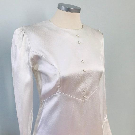 Vintage wedding dress,ice white satin,bridal gown,long train,60s,Mod,empire line,long sleeves,bridal,UK 10