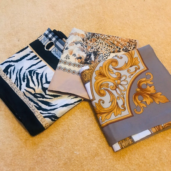 Vintage scarf,scarf lot, 3,animal print,leopard,gold chains,glam,1980s,70s,scarves, satin nylon, polyester, vegan, accessory, gift, xmas