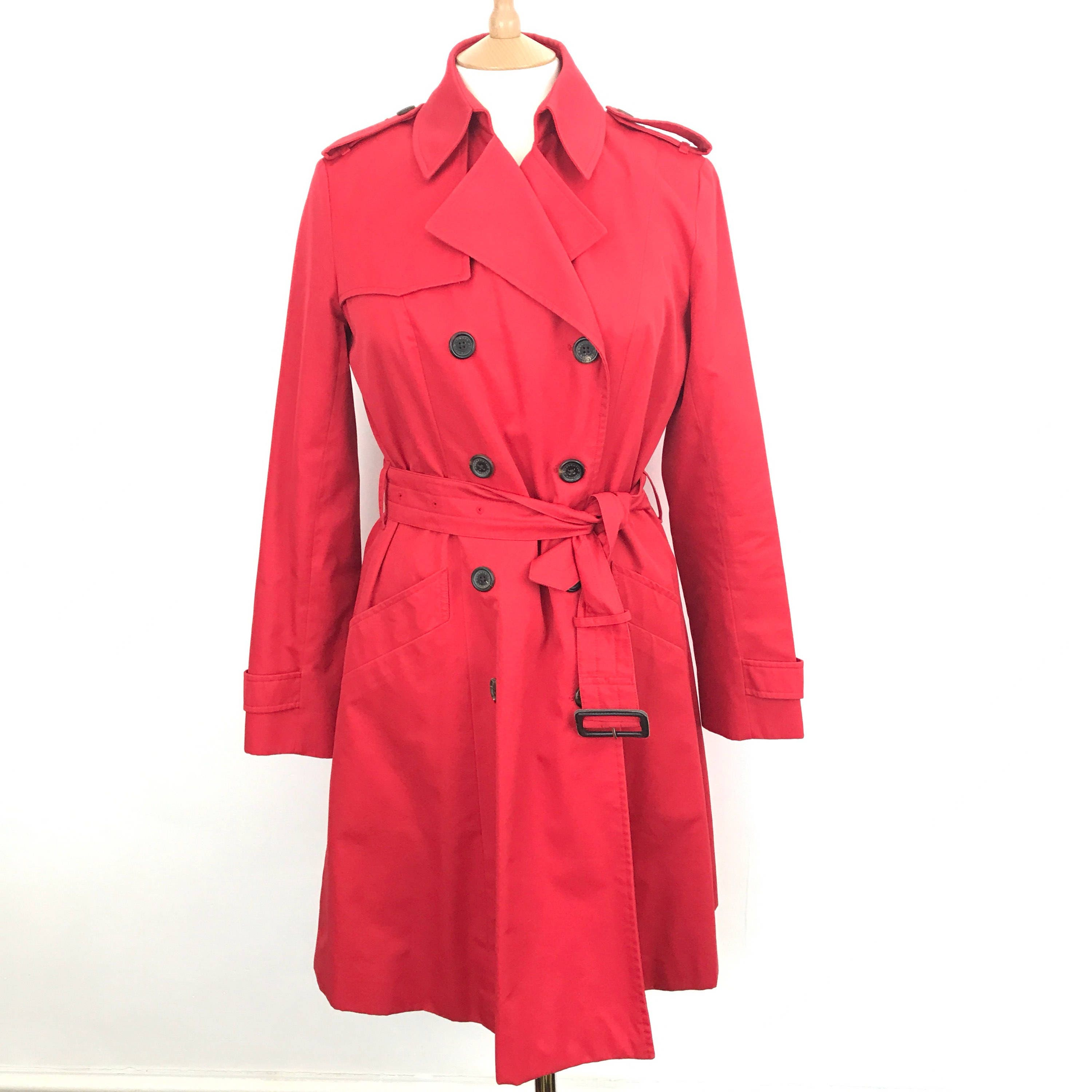 8e7ecacd722a0 Aquascutum mac red trench coat cotton weight classic macintosh double  breasted scarlet vintage raincoat designer UK 12