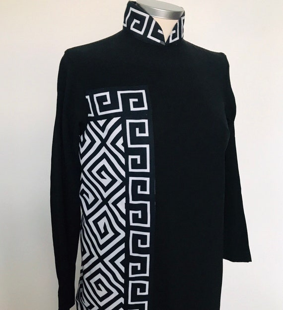 Vintage black dress, Shakespeare Costume, The Globe,1970s maxi,Greek Key,mandarin collar,long sleeves, gothic,UK 10,vintage theatre costume