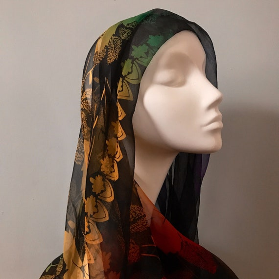 silk chiffon scarf,Rainbow,rectangle,autumn leaves,headscarf turban,neckerchief,long silk scarf,oblong,vintage,Ombré,Fall,Goth