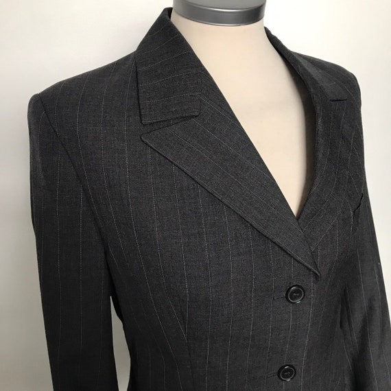 Vintage jacket,ladies blazer,pinstripe,masculine,make do and mend, WW2,1940s style,40s look,grey jacket,Goodwood Revival,Tweed Run,UK 10,12