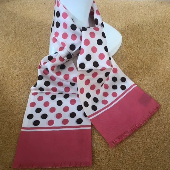 1960s scarf, long scarf, silky bold spotty design brown, pink, 60s oblong, GoGo, polka dot, satin, fringed