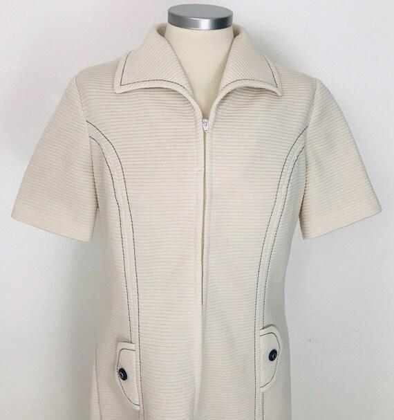 Mod dress, crimplene dress,beige dress,ribbed,A line jersey, polyester knit, UK 12 14, 60s, 70s,dagger collar, scooter girl, Go Go dress