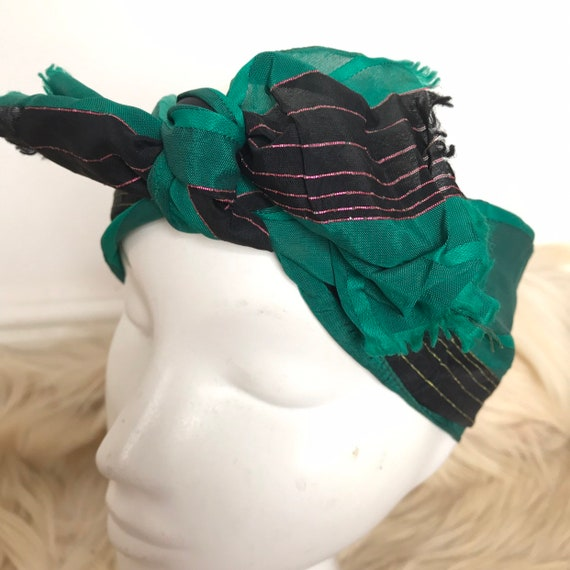 1940s scarf striped woven chiffon green metallic stripes neck tie evening scarf 40s stripey crepe