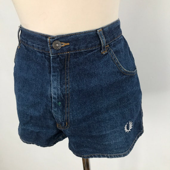 "Vintage Fred Perry, denim shorts, denim hot pants, 1970s shorts, jean shorts, Mod, sports 36"" waist, vintage 70s, short shorts"