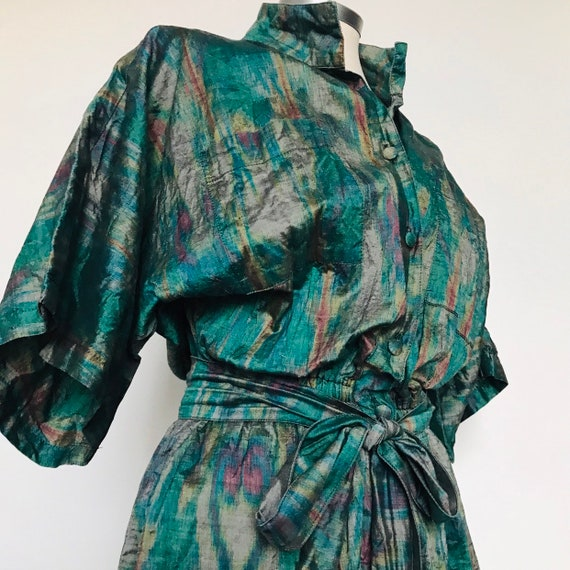 Vintage jumpsuit,vintage playsuit,silky,tafetta,marbled effect,tie dye, all in one,oversized shirt,vintage jumper, 1980s,UK 10