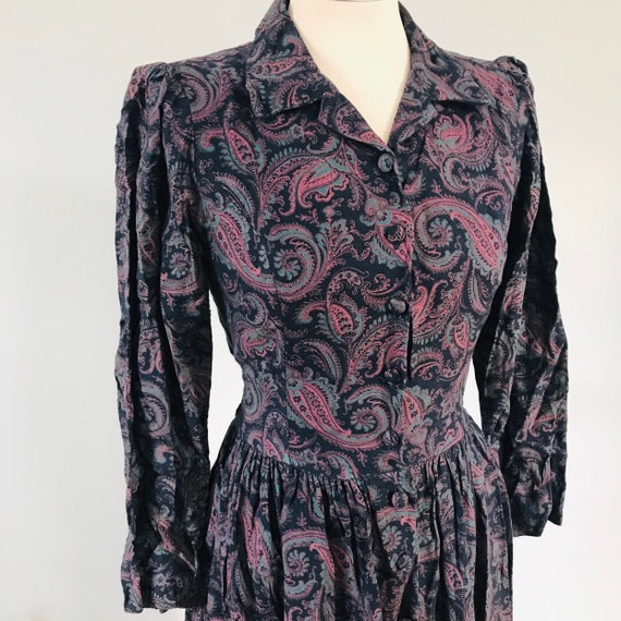 Laura Ashley dress,wool dress,80s does 40s,paisley print,day dress,UK 10 US 6,historical,edwardian style,long sleeve,shirtwaister,vintage
