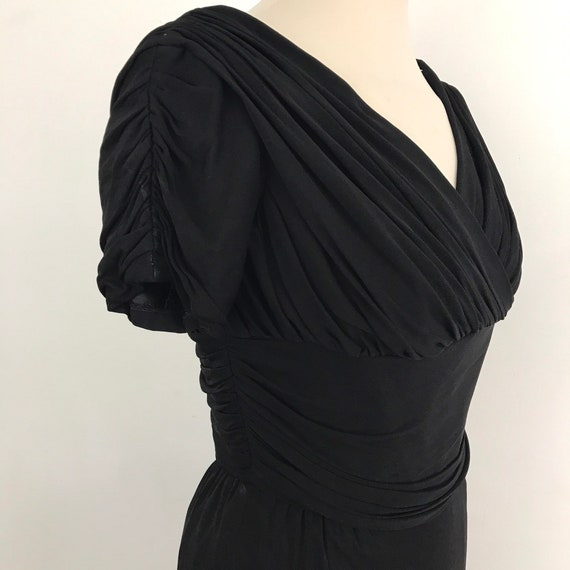 vintage dress, 1950s dress, 50s dress, UK 6, bad girl, black, sexy, wiggle, LBD, linzi line, VLV, rayon jersey, cocktail, Mad Men