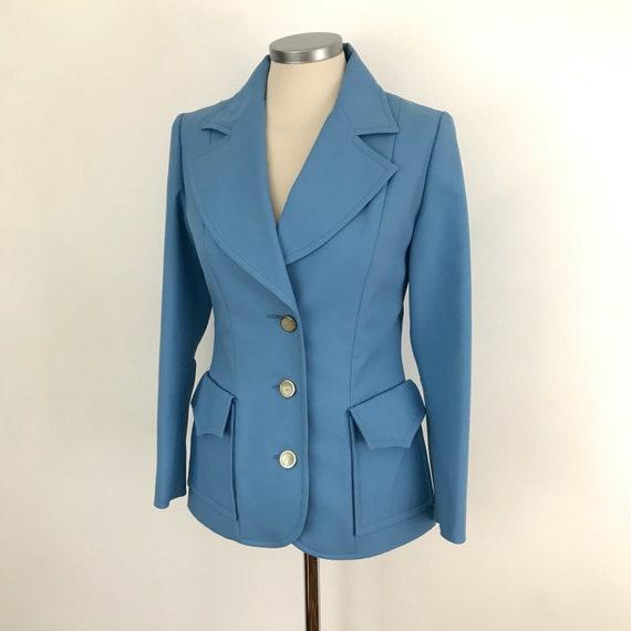 1970s blazer, sky blue suit jacket, Mod tailored jacket, 70s jacket, UK 10, big collar,