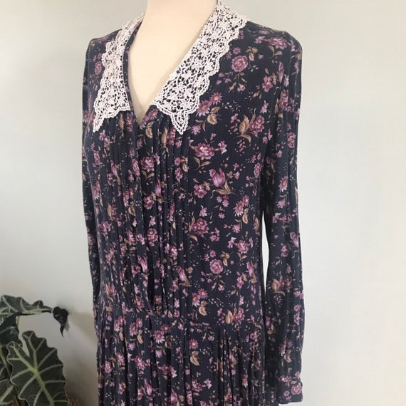 Laura Ashley dress,vintage lace collar,drop waist,Edwardian style,20s,30s look,brushed viscose wool mix,floral,daydress UK 12,re enactor,n