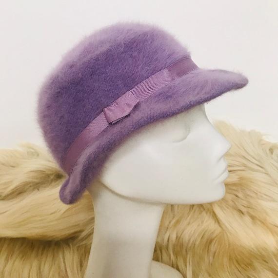 vintage hat,vintage bucket hat,angora hat,lilac,fluffy hat,1970s hat,60s hat,purple,small