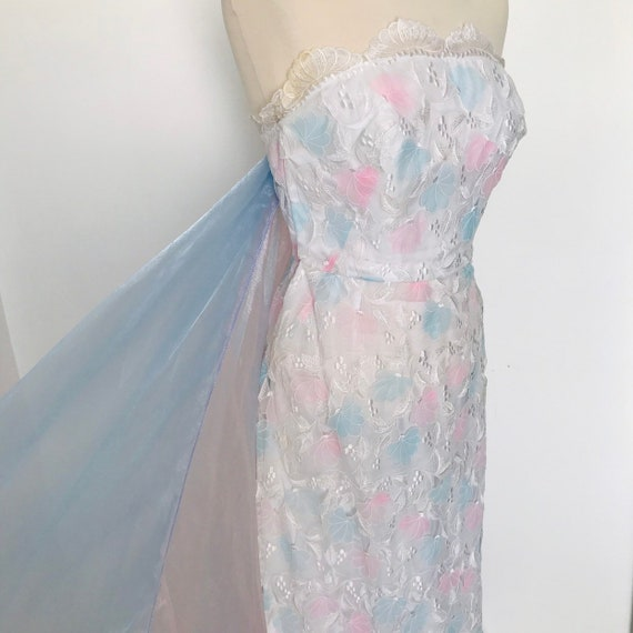Vintage dress, Bernshaw, princess,pastel rainbow, lacy dress,Disney, cocktail, 1980s,mermaid,unicorn,UK 8 10,alternative bridal,wedding,cape