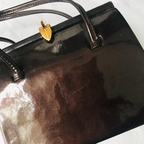 1960s Mod handbag brown patent leather top handle purse vintage 60s bag gold clasp GoGo Mad Men classic wedding accessory
