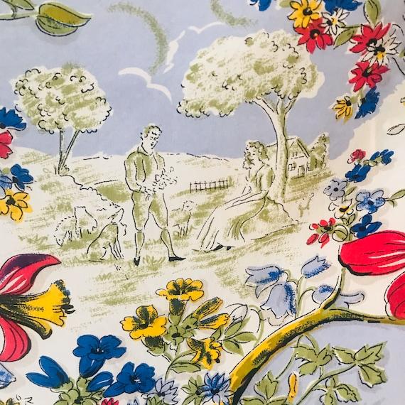 Vintage scarf,novelty print,orchids,1930s,40s, headscarf,neckerchief square,fun,vintage accessory,rayon,crinoline lady,18th century