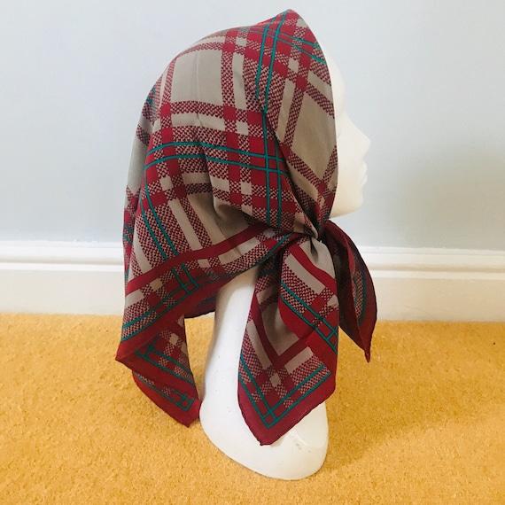 Vintage scarf,Jaeger scarf, silky,plaid,tartan,grey,magenta,80s,GoGo,1970s,Mod,grey,red,70s,silk scarf