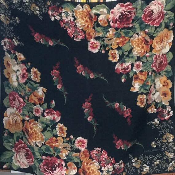Silk Scarf,Laura Ashley, rose print, rose trellis, cute, kawaii, floral, British silk,English rose,vintage scarf,flowery