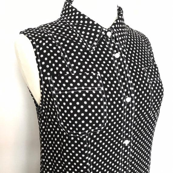 Vintage dress,Y2K,button front dress,western style,daisy print,90s,flower power,UK 12, 14, utility,black,button down,shirt dress,