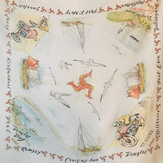 Vintage scarf, souvenir scarf,Isle of Man,rayon scarf,square scarf,landmarks,1940s scarf,40s scarf,1930s scarf,IOM,TT racing,Goodwood,Cars