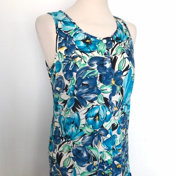 vintage dress, jersey cotton dress,drop waist,blue dress,sundress,vest dress, St Michael,sundress,stretch jersey,UK 8 10