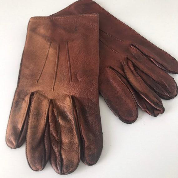 Vintage gloves,mens gloves,chestnut brown leather,short gloves,size 8,brown leather gloves,1950s 40s,mens vintage