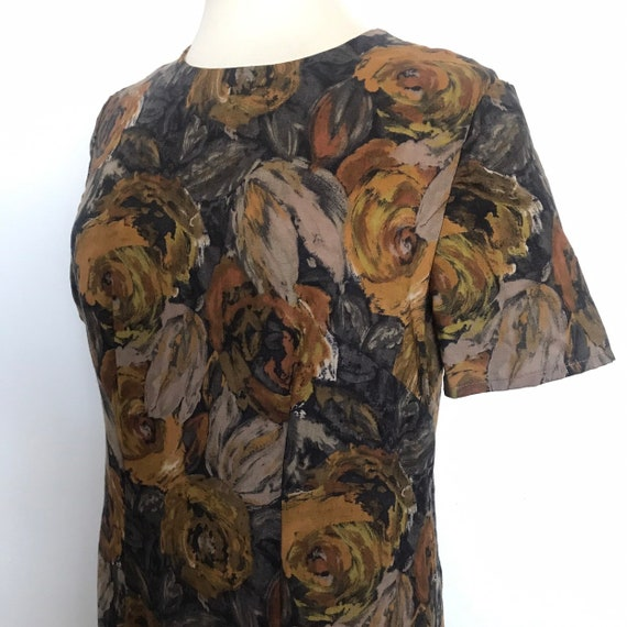 Vintage dress,wool dress,1960s shift dress,flowery print,autumn dress,UK 16,late 1950s,handmade,shift dress,fine wool