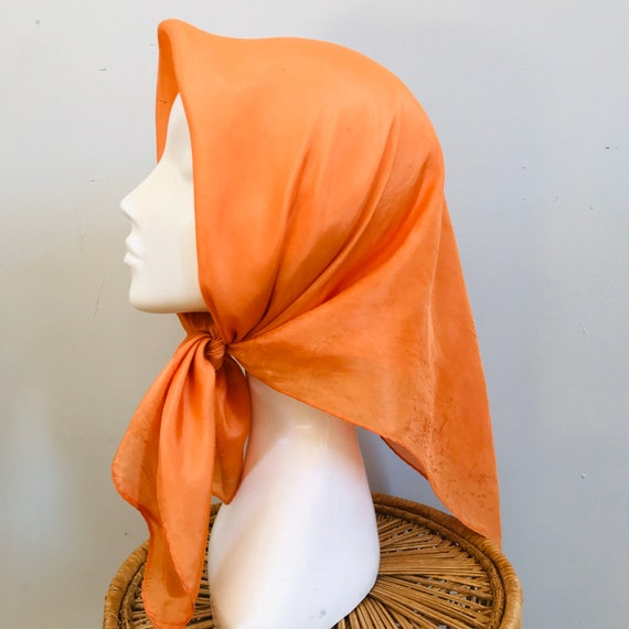 Vintage scarf,orange scarf,chiffon silk, orange rayon,50s rockabilly headscarf, turban neckerchief square, rolled hem, 40s style, 1960s Mod