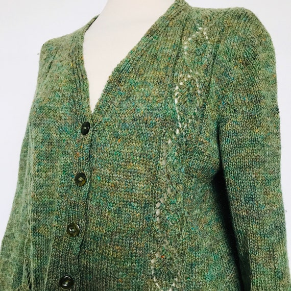 vintage knitwear,knitting,40s cardigan,green,1940s knit, hand knitted, sweater, WW2,re enactor, make do and mend, green cardigan UK 14