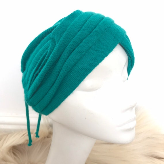 Vintage turban,hair band,green,knitted turban,scarf,pleated jersey knit,ruched headpiece classic style vintage,festival,80s,70s