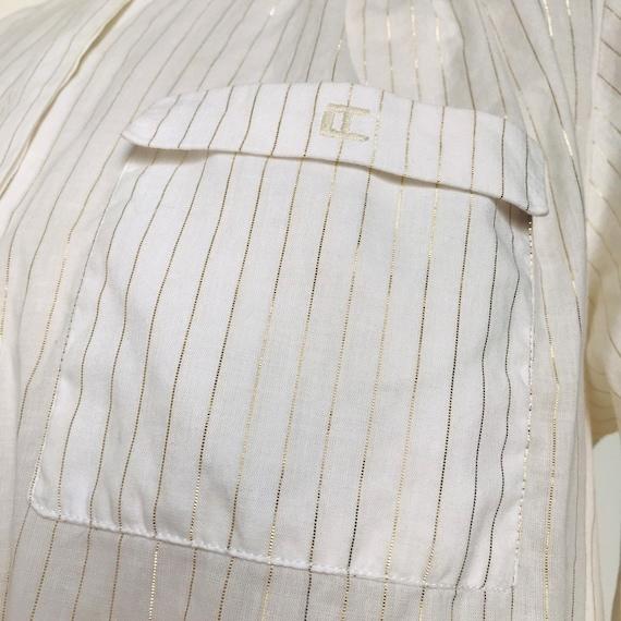 Vintage blouse,striped shirt,gold striped blouse,white cotton shirt,Ted Lapidus,UK 10,8,stripes,utility,minimal,,80s,annie hall,1980s