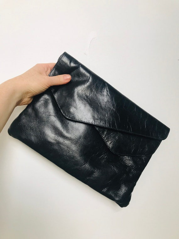 Black clutch bag, leather purse vintage envelope bag,evening,black leather clutch,1980s,evening bag,vintage accessory