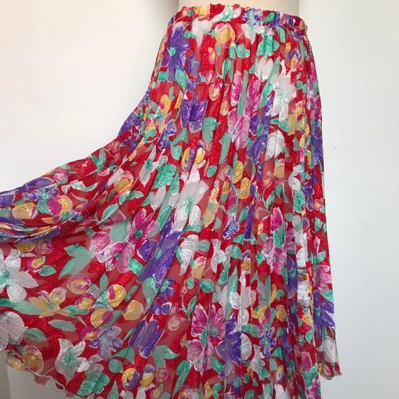 "Vintage skirt, pleat skirt,diane freis style,chiffon,red,floral,rainbow, UK 12, pleated, 80s, 1980s, mom style,knife pleat,30"",elasticated"