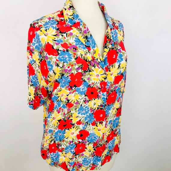 Vintage shirt, floral print, flowery, 90s, tie front, plus size top Nu wave, 80s does 50s 40s style  UK 16 18 volup