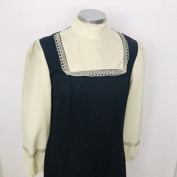 Vintage maxi dress 1970s long dress, Mod, boho, silver lace, balloon sleeves, hippie, 70s, crimplene, UK 10 Victoriana, faux pinafore