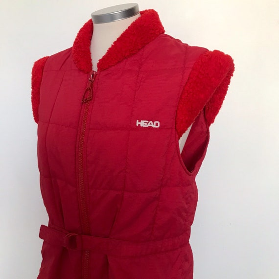 Vintage gilet,padded gilet,red vest,waistcoat,red,puffa,puffer,boho,Head,1980s,sleeveless coat,80s,nu wave