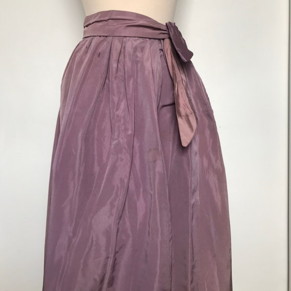 Vintage skirt,taffeta Skirt, Long skirt,Lavender,purple,Tie Waist,high waiSt,1950s,50s evening Skirt,gathered,UK 8 10,Trashed