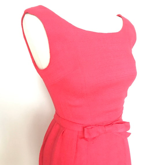 1950s dress,50s dress,fuscia pink,bow,early 1960s,60s,party dress,pink dress,rockabilly,pin up,rock n roll,Doris Day,size 8