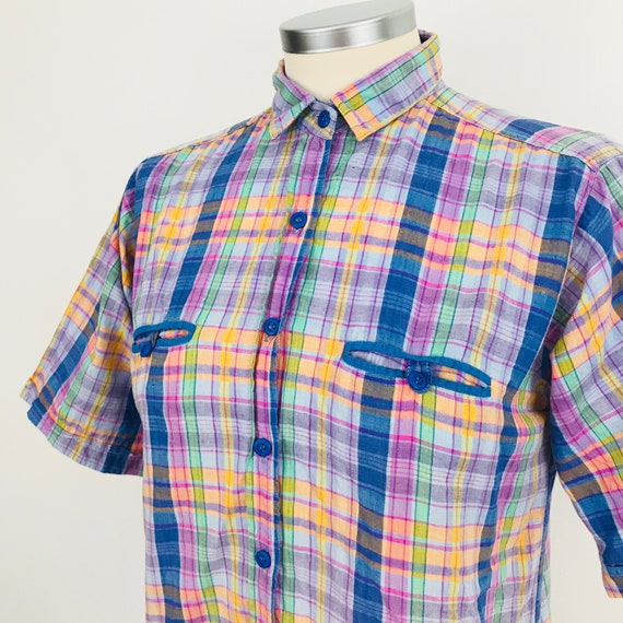 Vintage blouse, check shirt, checkered shirt 1970s top rainbow plaid UK 8, petite, Mod blouse, GoGo, Scooter Girl, Northern Soul, x small