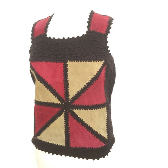 1970s crochet top vintage suede vest top boho wool tabbard brown red festival hippy costume 70s hand stitched UK 10 hippie folk