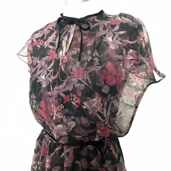 Chiffon dress,floaty dress,floral dress, watercolour,tea dress,flared sleeves,vintage wedding,black,swing dress,early 80s,1970s,UK 6,8