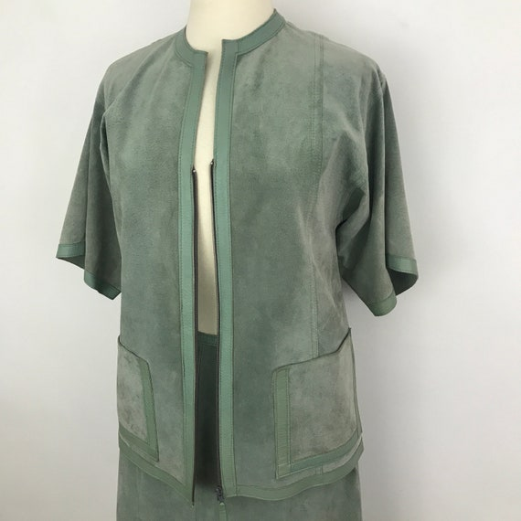 Vintage suede jacket, suede skirt, mint green leather, 1970s ladies suit, A line skirt, pale green, kimono sleeves, hippie, festival, UK 14,
