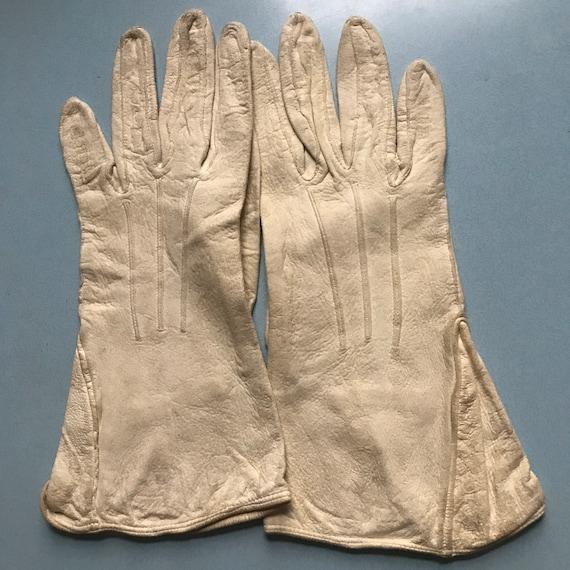 1940s gloves,gauntlet,cream,suede, chamy leather,handmade 40s original accesories 7